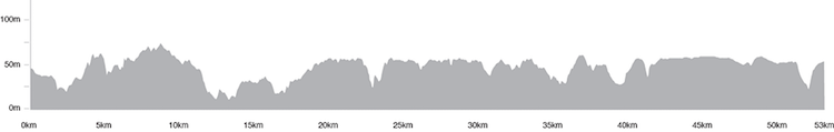 The official profile may appear to have plenty of ups and downs, but this is a  pretty flat course.