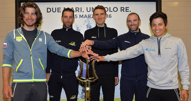 (L-R) World Champion Peter Sagan of Tinkoff, Italian rider Vincenzo Nibali of Astana Pro Team, US rider Tejay van Garderen of BMC, Spanish Rider Alejandro Valverde of Movistar Team and Colombian rider Esteban Chaves of Orica Green-Edge pose for the photographer prior to a press conference of Tirreno-Adriatico's Top Rider presentation, Lido di Camaiore, Lucca, 8 March 2016. ANSA/LUCA ZENNARO